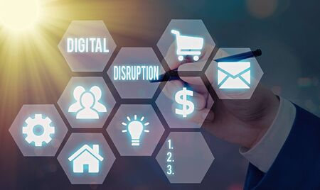 Word writing text Digital Disruption. Business photo showcasing Changes that affect technology markets Product makeover
