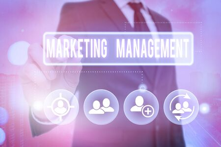 Handwriting text Marketing Management. Conceptual photo Develop Advertise Promote a new Product or Service