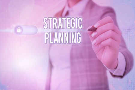 Writing note showing Strategic Planning. Business concept for Organizational Management Activity Operation Priorities