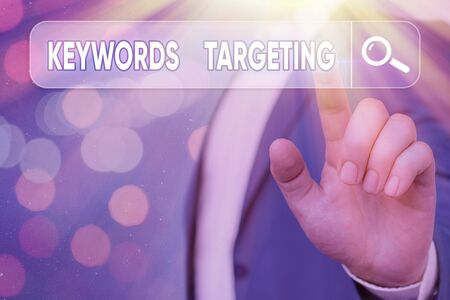 Text sign showing Keywords Targeting. Business photo showcasing Use Relevant Words to get High Ranking in Search Engines