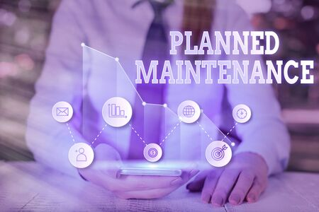 Writing note showing Planned Maintenance. Business concept for Check ups to be done Scheduled on a Regular Basis