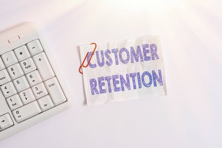 Writing note showing Customer Retention. Business concept for Keeping loyal customers Retain many as possible White pc keyboard with empty note paper above white background