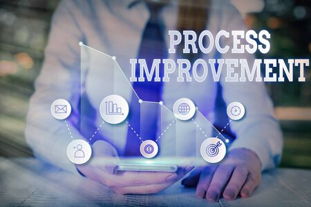 Writing note showing Process Improvement. Business concept for Optimization Meet New Quotas Standard of Quality