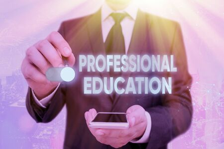 Handwriting text Professional Education. Conceptual photo Continuing Education Units Specialized Training