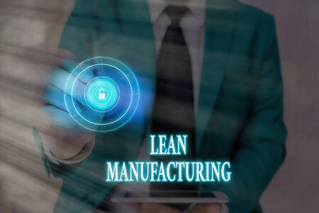 Handwriting text writing Lean Manufacturing. Conceptual photo Waste Minimization without sacrificing productivity
