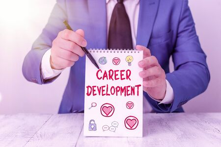 Conceptual hand writing showing Career Development. Concept meaning Lifelong learning Improving skills to get a better job