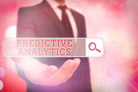 Conceptual hand writing showing Predictive Analytics. Concept meaning Optimize Collection Achieve CRM Identify Customer