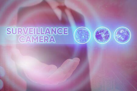Word writing text Surveillance Camera. Business photo showcasing Closed Circuit Television transmit signal on monitors