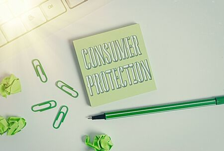 Text sign showing Consumer Protection. Business photo showcasing Fair Trade Laws to ensure Consumers Rights Protection Square empty green note paper with pencil on the white background and pc keyboard