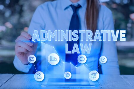 Text sign showing Administrative Law. Business photo text Body of Rules regulations Orders created by a government