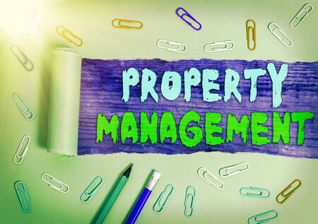 Handwriting text writing Property Management. Conceptual photo Overseeing of Real Estate Preserved value of Facility Banque d'images