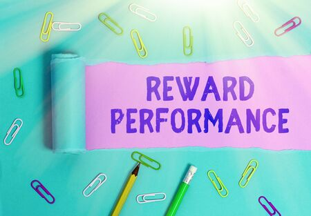 Handwriting text Reward Performance. Conceptual photo Appraisal Recognize workers Relative Worth to the company