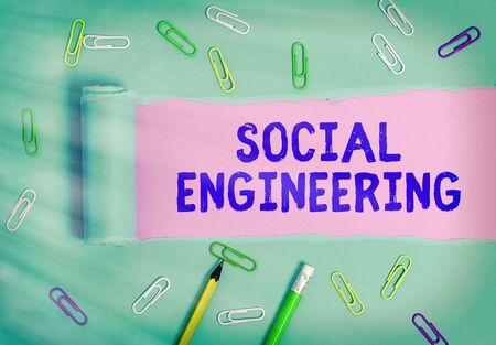 Handwriting text Social Engineering. Conceptual photo Psychological Manipulation Gain Access thru Fraud