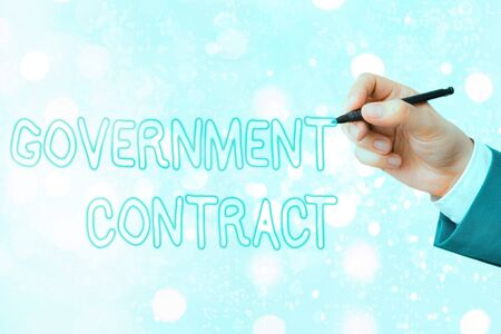 Conceptual hand writing showing Government Contract. Concept meaning Agreement Process to sell Services to the Administration