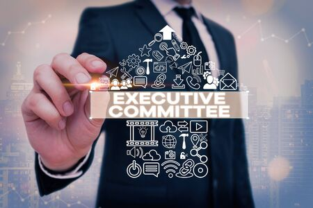 Handwriting text Executive Committee. Conceptual photo Group of Directors appointed Has Authority in Decisions