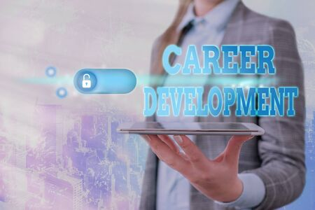 Text sign showing Career Development. Business photo showcasing Lifelong learning Improving skills to get a better job