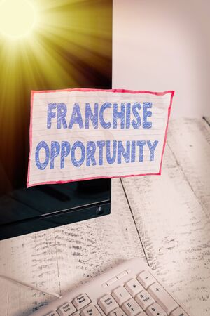 Conceptual hand writing showing Franchise Opportunity. Concept meaning Business License Privilege Owner to Dealer Affiliation Notation paper computer monitor screen near white keyboard