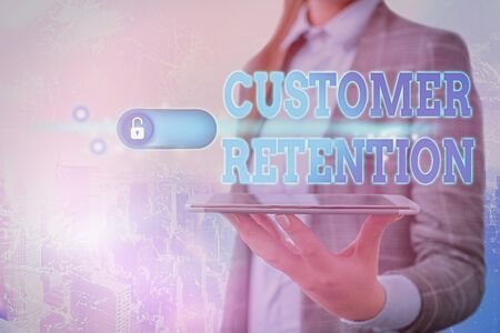 Text sign showing Customer Retention. Business photo showcasing Keeping loyal customers Retain many as possible Stockfoto