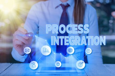 Text sign showing Process Integration. Business photo text Connectivity of Systems Services and Information