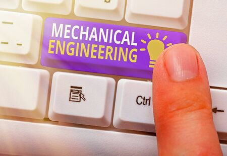 Text sign showing Mechanical Engineering. Business photo text deals with Design Manufacture Use of Machines