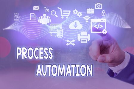 Conceptual hand writing showing Process Automation. Concept meaning Transformation Streamlined Robotic To avoid Redundancy