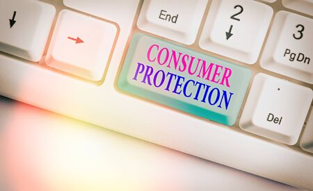 Conceptual hand writing showing Consumer Protection. Concept meaning Fair Trade Laws to ensure Consumers Rights Protection Banque d'images