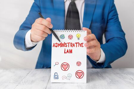 Conceptual hand writing showing Administrative Law. Concept meaning Body of Rules regulations Orders created by a government