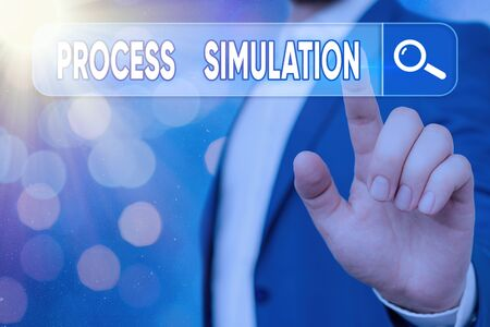 Text sign showing Process Simulation. Business photo showcasing Technical Representation Fabricated Study of a system