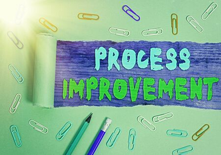 Handwriting text writing Process Improvement. Conceptual photo Optimization Meet New Quotas Standard of Quality