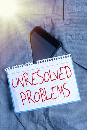 Writing note showing Unresolved Problems. Business concept for those Queries no one can answer Unanswerable Questions Smartphone device inside trousers front pocket note paper