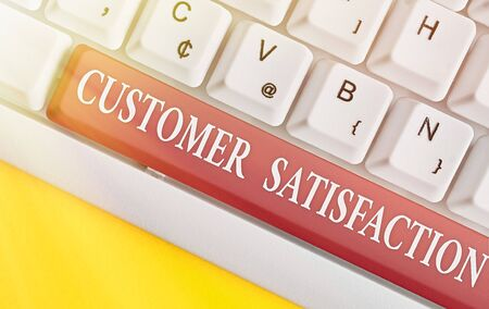 Writing note showing Customer Satisfaction. Business concept for Exceed Consumer Expectation Satisfied over services