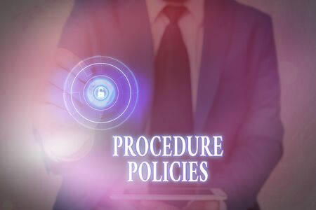 Handwriting text writing Procedure Policies. Conceptual photo Steps to Guiding Principles Rules and Regulations Stock Photo