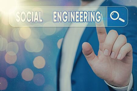 Text sign showing Social Engineering. Business photo showcasing Psychological Manipulation Gain Access thru Fraud