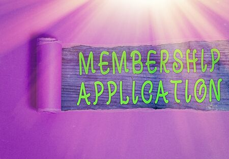 Writing note showing Membership Application. Business concept for Gateway to any organization to check if Eligible