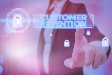 Conceptual hand writing showing Customer Retention. Concept meaning Keeping loyal customers Retain many as possible