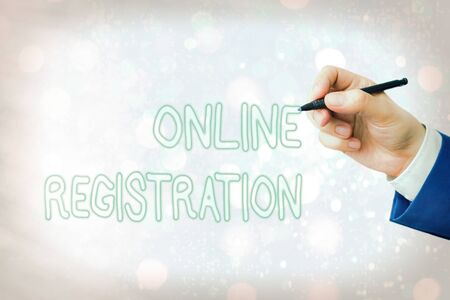 Conceptual hand writing showing Online Registration. Concept meaning Process to Subscribe to Join an event club via Internet