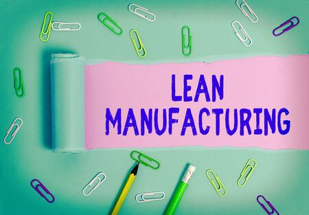 Handwriting text Lean Manufacturing. Conceptual photo Waste Minimization without sacrificing productivity