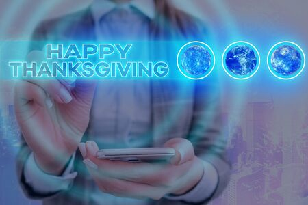 Word writing text Happy Thanksgiving. Business photo showcasing Harvest Festival National holiday celebrated in November Stock Photo