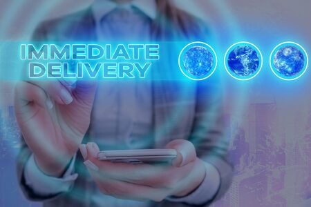 Word writing text Immediate Delivery. Business photo showcasing Send it Now Custom Procedure to dispose Promptly