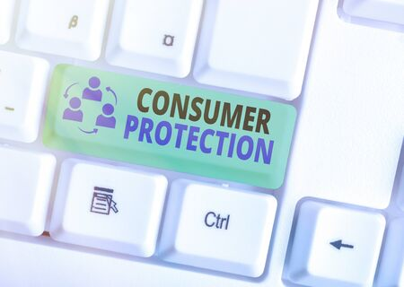 Text sign showing Consumer Protection. Business photo text Fair Trade Laws to ensure Consumers Rights Protection