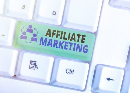 Text sign showing Affiliate Marketing. Business photo text Promoting another an individuals product Earning a Commission