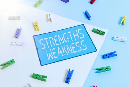 Text sign showing Strengths Weakness. Business photo showcasing Opportunity and Threat Analysis Positive and Negative Colored clothespin paper empty reminder yellow blue floor background office