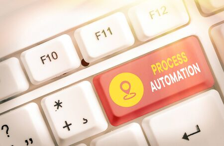Writing note showing Process Automation. Business concept for Transformation Streamlined Robotic To avoid Redundancy