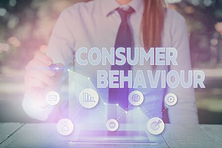 Text sign showing Consumer Behaviour. Business photo text Decisions that showing make to buy or not to buy a product