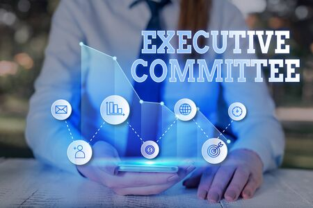 Writing note showing Executive Committee. Business concept for Group of Directors appointed Has Authority in Decisions