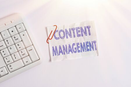 Writing note showing Content Management. Business concept for Process that collects manage and publish information White pc keyboard with empty note paper above white background