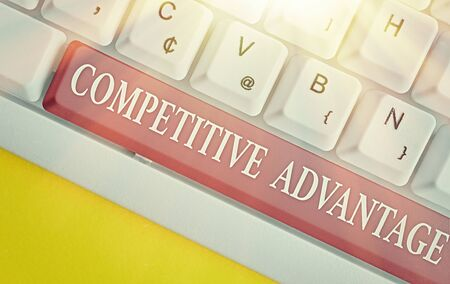 Writing note showing Competitive Advantage. Business concept for Company Edge over another Favorable Business Position