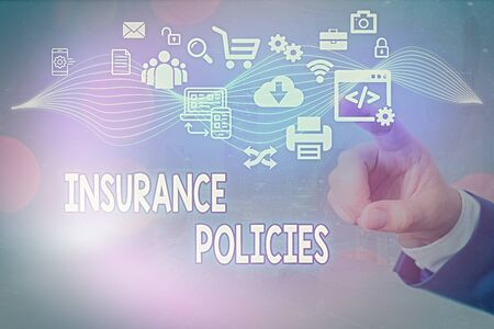 Conceptual hand writing showing Insurance Policies. Concept meaning Documented Standard Form Contract Financial Reimbursement