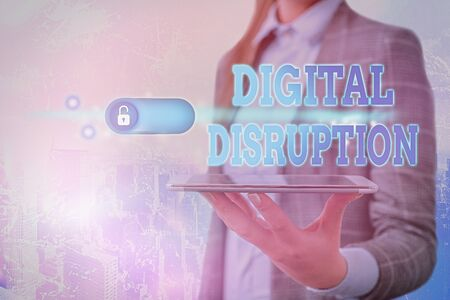 Text sign showing Digital Disruption. Business photo showcasing Changes that affect technology markets Product makeover