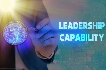 Writing note showing Leadership Capability. Business concept for what a Leader can build Capacity to Lead Effectively